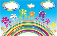 rainbow,cloud,vector,flower