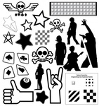punk,collection,resource,part,mixed,shape,skull,rock,band,guitar,thumbs up,ace,pattern,metal,hand,sign,peace,bone,star,8,ball,card,thumb,up,book,leaf,people silhouette