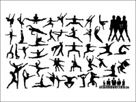 dancing,people,silhouette,variety,dance,material,vector