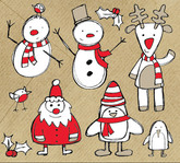 christmas,themed,sketchy,graphics,snowman,santa,raindeer,element,sketch,mistletoe,reindeer,penguin,robin