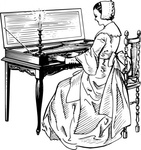 woman,playing,clavichord,people,music,musical instrument,line art,black and white,contour,outline,media,clip art,externalsource,public domain,image,png,svg,wikimedia common,psf,wikimedia common,wikimedia common,wikimedia common