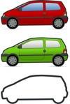 twingo,car,vehicle,renault,french,wheel,drive,side view,red,green,city,transportation