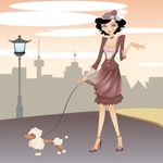 lady,elegant,elegance,metro,scene,poodle,manhattan,with