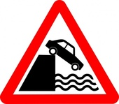 caution,cliff,water