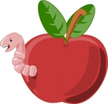 cartoon,apple,worm,color,food,fruit,bug,insect,media,clip art,public domain,image,png,svg