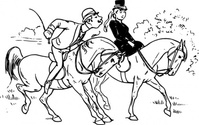 riding,couple,horse,rider,love,kiss,joke,black & white,contour,outline,externalsource,wikimedia common,wikimedia common