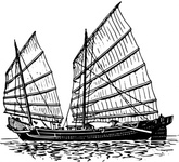 junk,ship,editorial pick,maritime,sailing,drawing,line art,wikimedia commpns,black and white,contour,outline