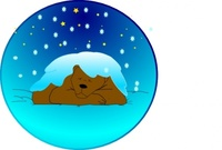 sleeping,bear,under,star,with,snow,circle,clip