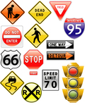 road,sign,amp,traffic,light,stop,arrow,pedestrian,sign,arrow,sign,arrow