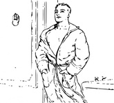 outline,robe,line art,contour,people,person,young,man,bath,bathrobe,bathroom