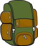 backpack,green,brown,remix,bag,hiking,trip,travel,luggage,outdoors,contour,colour,outline,clip art,media,public domain,image,png,svg