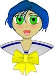 girl,anime,cartoon,blue hair,schoolgirl,media,clip art,public domain,image,png,svg