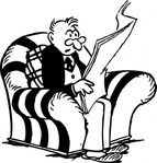 reading,newspaper,cartoon,caricature,man,person,sitting