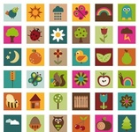 nature,icon,bright,color,acorn,apple,bee,bird,cherry,chick,childlike,cloud,corn,element,feather,fence,flower,fruit,graphic,house,illustration,insect,ladybird,leaf,lightening,moon,object,orange,owl,pear,petal,rain,rainbow,retro,snail,square,squirrel,star,sun,weather,web,wheat