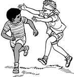 boy,running,people,child,playing,blindfold,fun,game,line art,coloring book,black and white,contour,outline