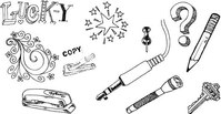object,handdrawn,set,of,hand,drawn,plug,drawing,stapler,key,pencil,flashlight,object,free,vector,object