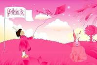 girl,illustration,pink,scenery,animal,rabbit,horizon,abstract,kite,sky