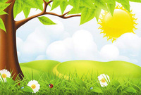 background,bright,floral,flower,grass,green,insect,natural,nature,natute,sky,template,tree,yellow