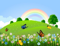 background,beautiful,butterfly,eco,flora,floral,flourish,flower,grass,green,hill,hilly,illustration,land,landscape,natural,nature,naturism,outdoor,rainbow,sky,skyline,spring,summer,tree,view,wallpaper