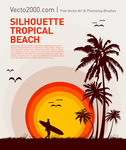 background,beach,bird,holiday,hot,illustration,man,nature,ocean,orange,palm,polynesian,sea,seagull,silhouette,sky,sport,stylized,summer,sun,sunrise,sunset,surfboard,surfer,surfing,tourist,travel,tree,tropical,vocation,warm