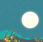 abstract,art,background,evening,forest,fruit,illustration,landscape,midnight,moon,moonlit,mountain,nature,night,season,silhouette,sky,star,tree,vector,wood