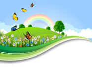 background,banner,blade,blue,border,butterfly,cloud,daisy,day,design,drawing,eco,ecology,fairy,field,floral,flower,foliage,grass,green,illustration,insect,landscape,lawn,leaf,life,lush,meadow,morning,natural,nature,outdoors,painting,perfection,plant,rainbow,scene,sky,spring,summer,sunlight,tree,view
