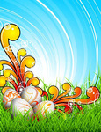 background,blue,bright,bubble,colorfull,easter,egg,floral,food,grass,green,holiday,natural,nature,sky,swirl