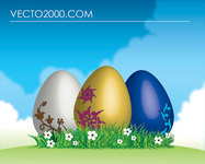 easter,egg,grass,green,landscape,sky