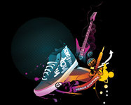 abstract,circle,colourful,culture,guitar,shoe,urban,music,trend,vector,graphic,sneaker,misc,object,background,pop,rock,music,trend,vector,graphic,object