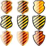 shield,danger,stripe,set,heraldic,security,secure,warning,defend,fend,defense