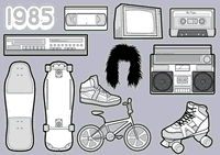 1980's,skateboard,bmx,boom box,roller skate,retro,mix tap,tape,big hair