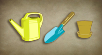 ecologic,garden,gardening,kit,pot,shovel,watering can,yellow,garden kit,garden vector