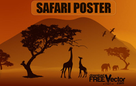 illustration,poster,animal,animals silhouette,bird,elephant,forest,giraffe,nature,safari poster,silhouette