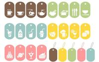 blue,brown,food,green,icon,label,pink,symbol,yellow