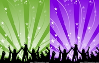 silhouette,people,dance,happy,ray,star,lin,music,groove,illustration