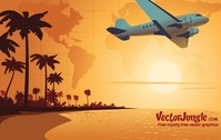 travel,background,landscape,world,map,airplane,beach,sunset,palm,tree,coconut,sea,shore