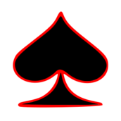 spade,black,red,outlined,playing,card,symbol