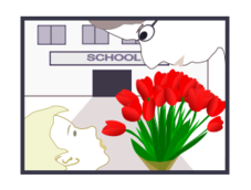 student,school,teacher,present,flower,bouquet,school year beginning,child,gratitude