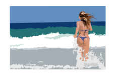 girl,beach,sea,ocean,sky,woman,bikini,sexy,walking,running,wave