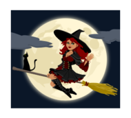 witch,occult,woman,female,cat,broom,broomstick,moon,night,cartoon,magic,fly,halloween