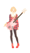 woman,jap,bass,guitar,colour,tweed,blonde,shoe,manga,pink,music,rocker,female,shoe