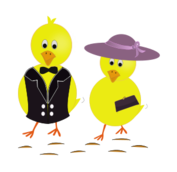 easter,sunday,chick,chicken,holiday,hat,cartoon,yellow,purple,purse,drawing,easter,sunday,chicks,image,png,svg,inkscape,public domain