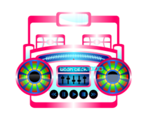 boom box,boombox,music player,cassette player,music,cassette,old school,mini,colorful,color,fun,whimsical,pop culture,style,eighties,pink,fuschia