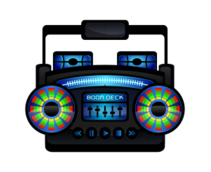 boom box,boombox,music player,cassette player,music,cassette,old school,mini,colorful,color,fun,whimsical,pop culture,style,eighties