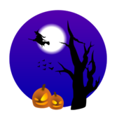 tree,pumpkin,witch,moon,scene,bat,animal,halloween