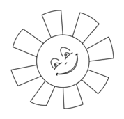 sun,black and white,line art,outline,coloring book,weather,happy,smile,face