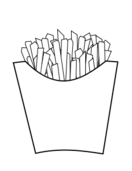 french fries,fast food,junk food,line art,black and white,outline,coloring book,food
