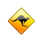 kangaroo,roo,australia,aussie,aussicon,road sign,sign,caution,warning,traffic,glass,shiny,anzac