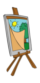 easel,painting,art,kid,tree,sun