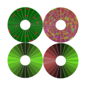 hdd defragmented fragmented with bad sectors abstract disc circle
